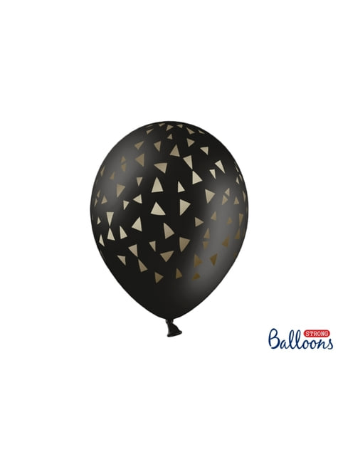 50 balloons in black with golden triangles (30 cm)