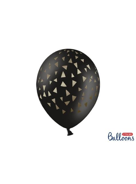 50 Luftballons schwarz mit goldenen Dreiecken (30 cm)
