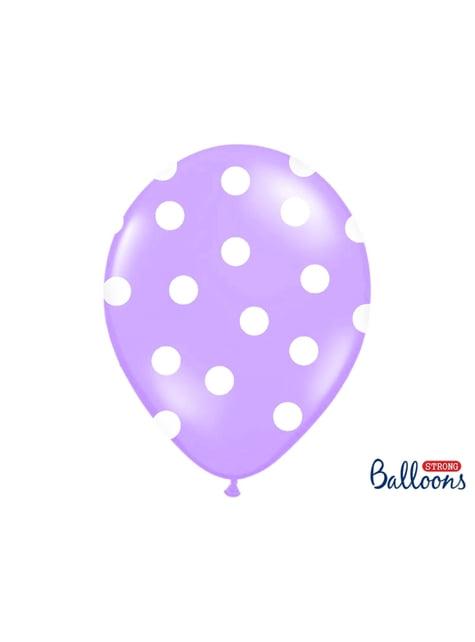 6 balões lavanda com bolas brancas (30cm)