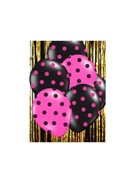 6 balões cor-de-rosa com bolas pretas (30cm)
