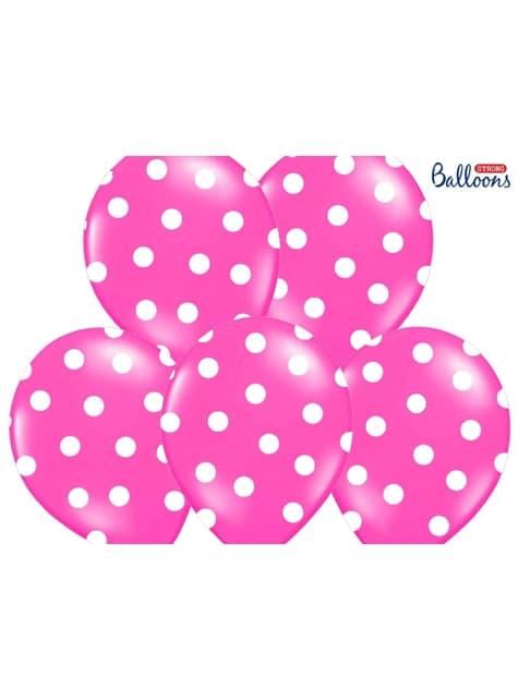 6 balões cor-de-rosa com bolas brancas (30cm)