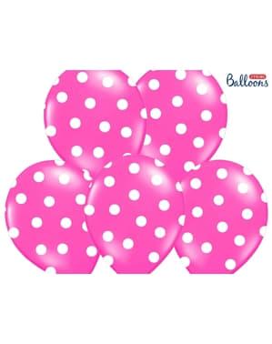 6 globos con topos rosa pastel (30 cm)