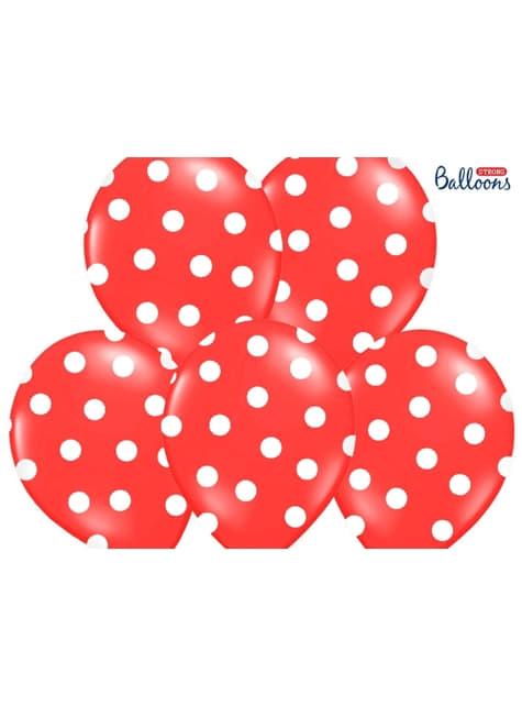 6 balões com bolas brancas (30cm)