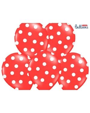 6 globos coral con topos blancos (30 cm)