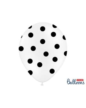 6 ballons blancs à pois noir (30 cm)