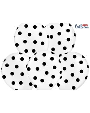 6 balões brancos com bolas pretas (30cm)