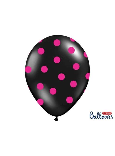 6 balões pretos com bolas cor-de-rosa (30cm)