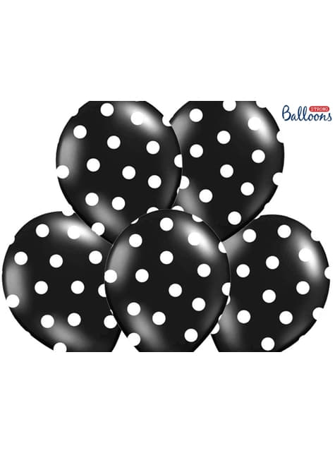 6 černých balónků s bílými puntíky, 30 cm