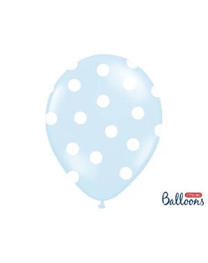 6 ballons bleu pastel à pois blancs (30 cm)