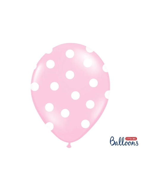 50 balonků pastelově růžových with bílých polka dots (30 cm)
