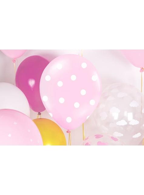 6 růžových balónků s bílými puntíky, 30 cm