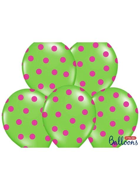 6 balões verde lima com bolas cor-de-rosa (30cm)