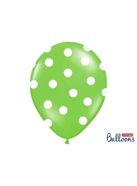 6 limetkově zelených balónků s bílými puntíky, 30 cm