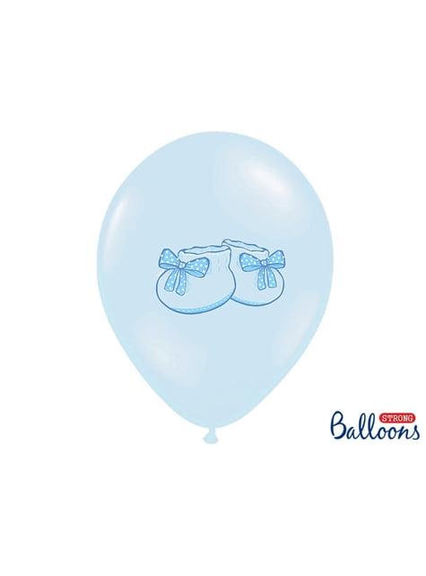 50 latexových balonků pastelově modrých s botičkami (30 cm)