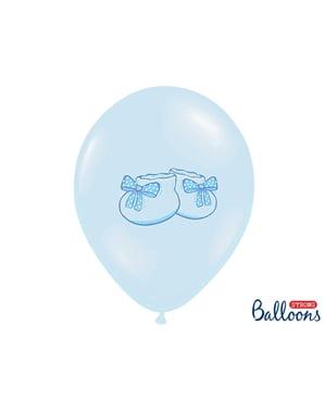 Patenli pastel mavi 6 lateks balonlar (30 cm)