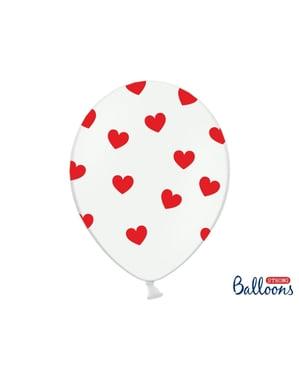 50 lateksi-ilmapalloa punaisilla sydämillä (30cm)