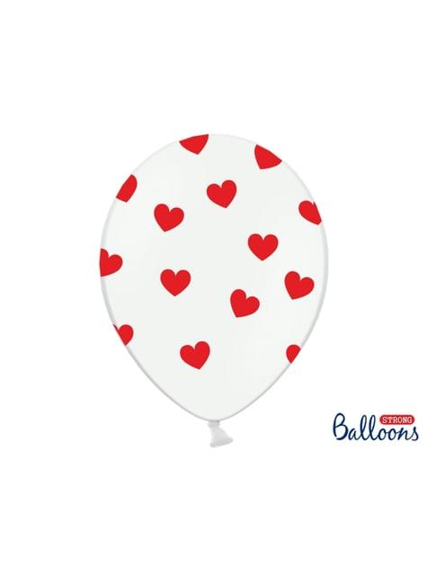 6 balões de latex  com corações vermelhos (30cm)
