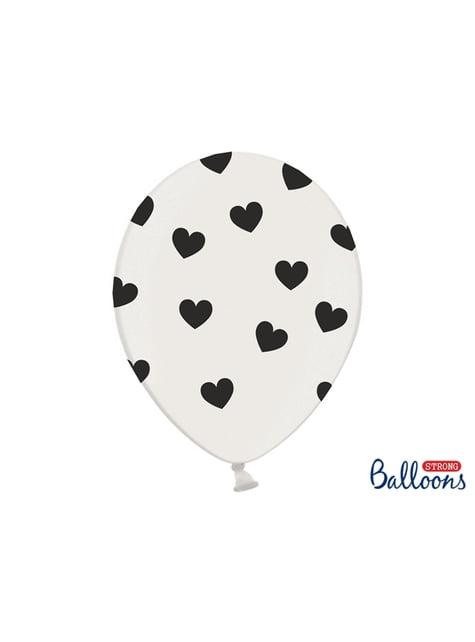 6 balões de latex com corações pretos (30cm)