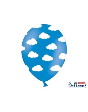 6 balon, yarı açık mavi, beyaz bulutlar (30 cm)