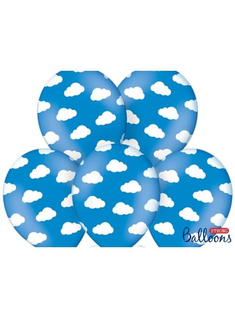 6 Luftballons blau mit weißen Wolken (30 cm)