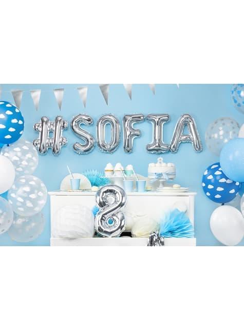 6 balloner halvklar blå med hvide skyer (30 cm)