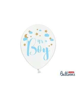 6 «Це хлопчик» латексні кулі для душа дитини в білому (30 см)