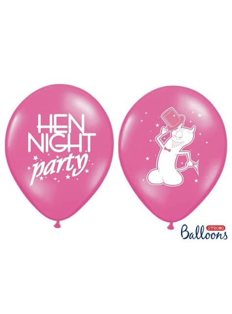 6 balões cor-de-rosa de latex para despedida de solteira (30cm)