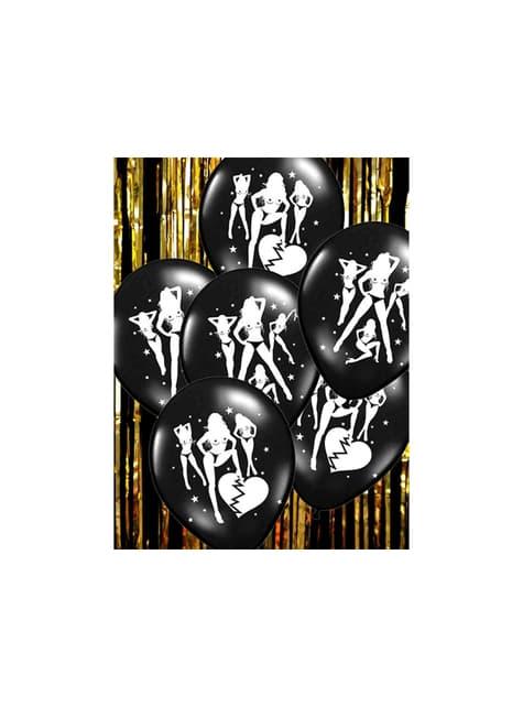 6 balões pretos de latex com silhueta de mulher (30 cm)
