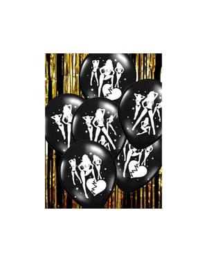 6 globos de látex con siluetas de mujeres negro (30 cm)