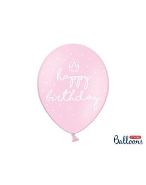 """Pembe 6 ekstra güçlü """"Doğum Günün Kutlu Olsun"""" balon (30 cm)"""