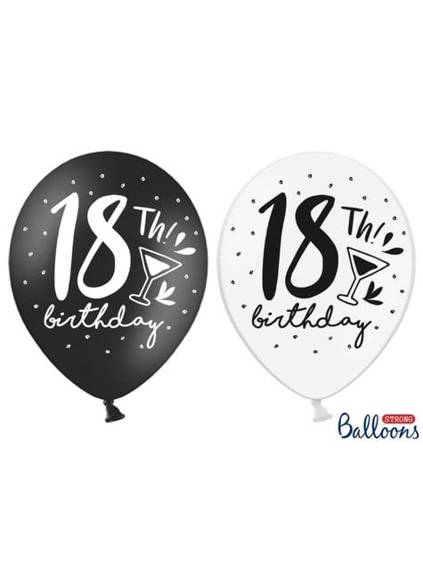 6 balões extra resistentes 18º Aniversário (30 cm)