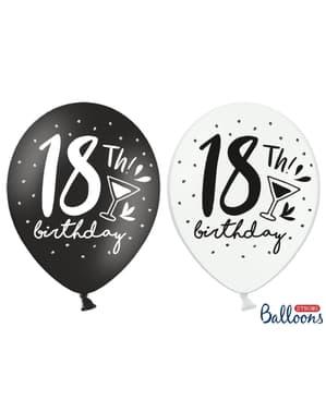 18. doğum günü için 6 ekstra güçlü balon (30 cm)