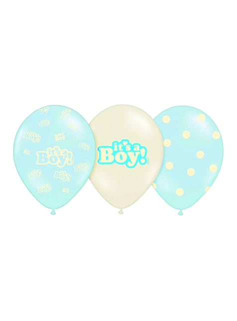"""50 modrých latexových balónků """"IT'S A BOY"""", 30 cm"""