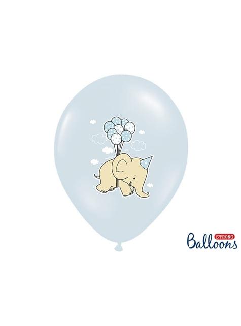 50 balões azul pastel de latex com elefante (30 cm)