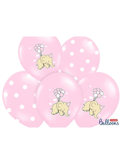 50 latexových balonků s růžovými slony (30 cm)