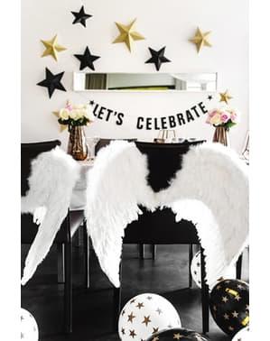 6 бр. Балони в бял цвят със златни звездички (30 см)