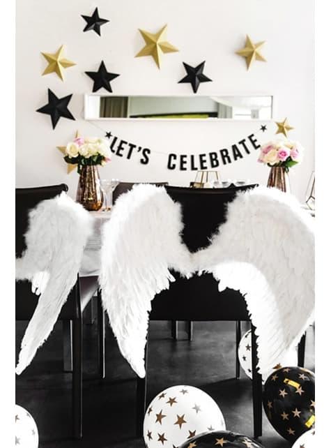 6 globos con estrellas doradas y negro (30 cm) - para tus fiestas