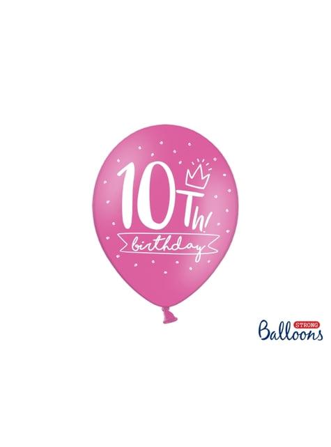 50 extra silných balonků - 10th birthday (30 cm)