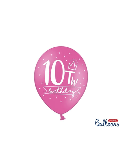 50 extra strong balloons - 10th birthday (30 cm)