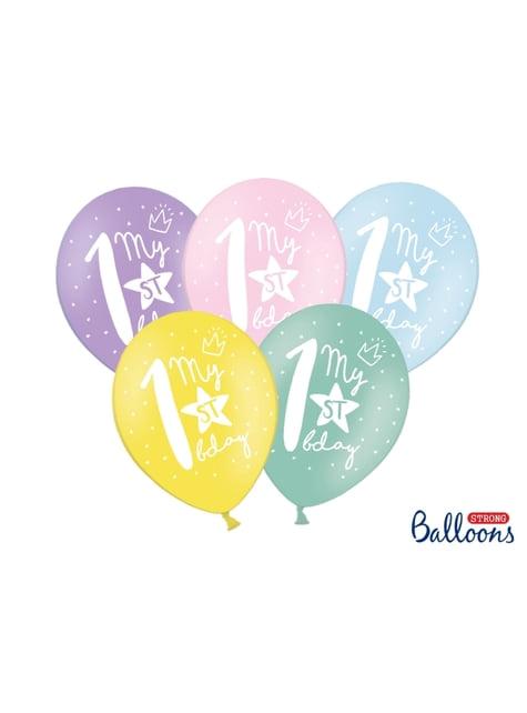 50 extra sterke ballonnen voor eerste verjaardag (30 cm)