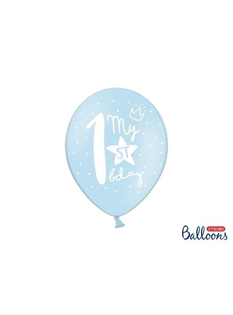 6 balões extra resistentes primeiro aniversário (30cm)