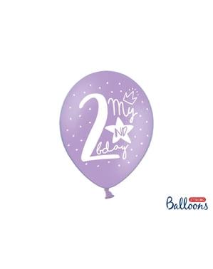 İkinci doğum günü için 6 ekstra güçlü balon (30 cm)