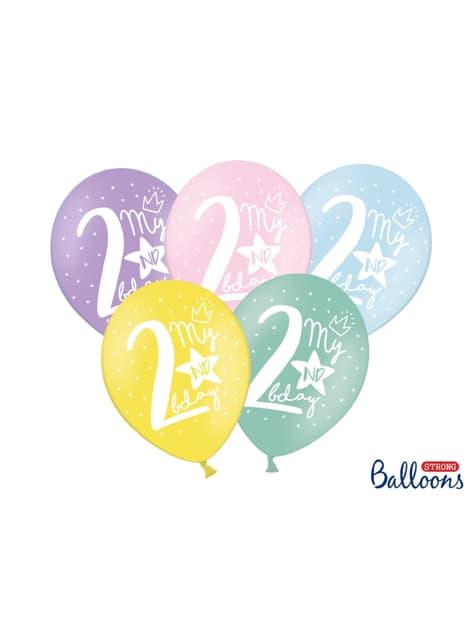 6 balões extra resistentes segundo aniversário (30cm)