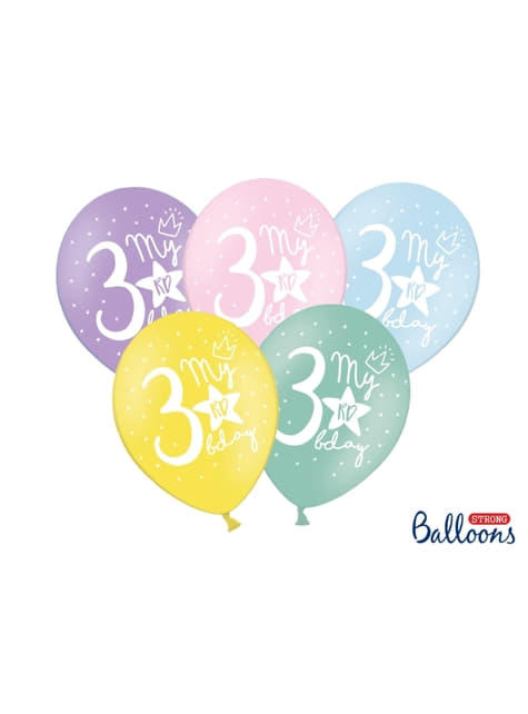 50 extra sterke ballonnen voor derde verjaardag (30 cm)