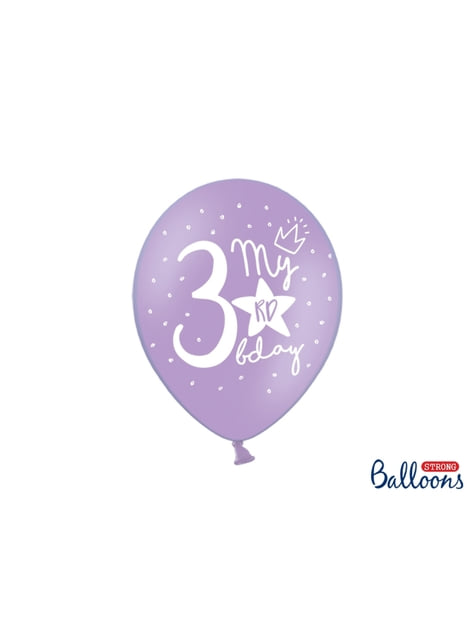 6 balões extra resistentes terceiro aniversário (30cm)