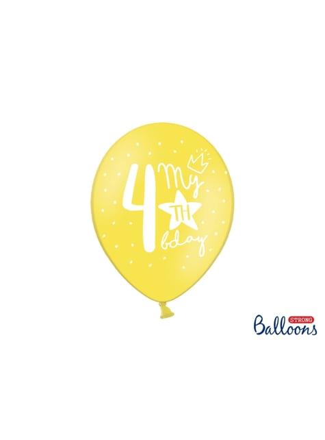 50 extra sterke ballonnen voor vierde verjaardag (30 cm)