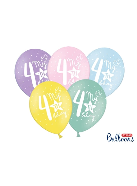 50 extra strong balloons for fourth birthday (30 cm)