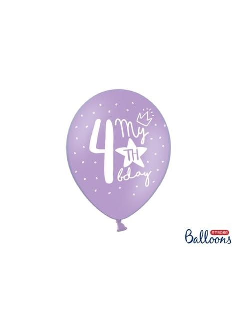6 balões extra resistentes quarto aniversário (30 cm)