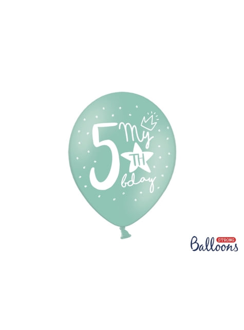 6 balões extra resistentes quinto aniversário (30cm)