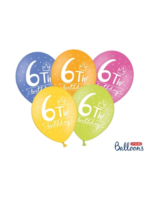 50 extra strong balloons for sixth birthday (30 cm)
